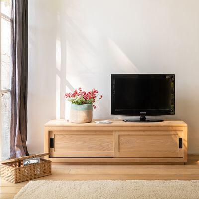 Meuble TV en chêne massif avec 2 portes coulissantes - Livré monté-EMOTION