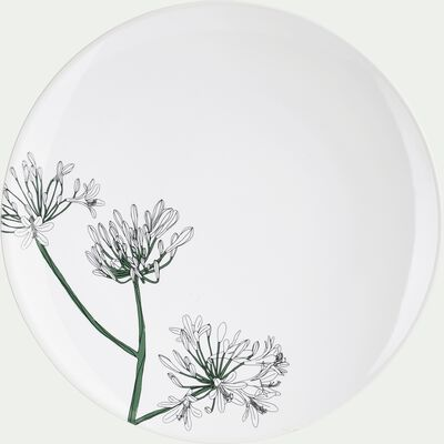 Assiette à dessert en porcelaine blanc ventoux décorée D21,5cm-AGAPANTHE