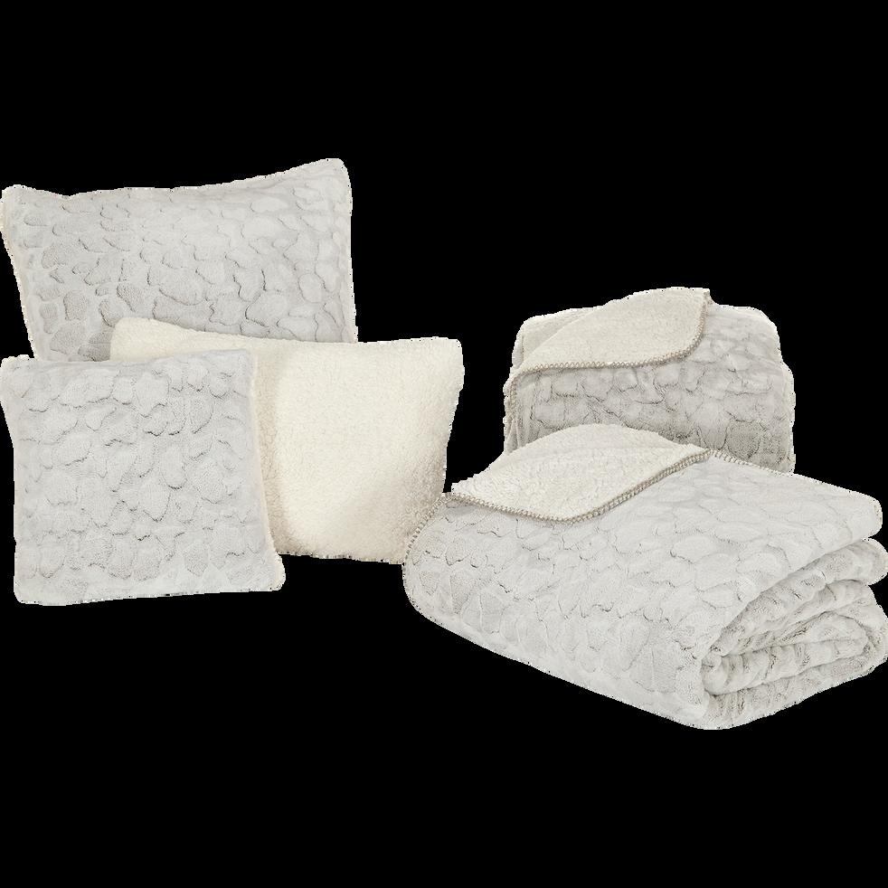 Jeté de lit réversible imitation fourrure beige 180x230cm-Sofy