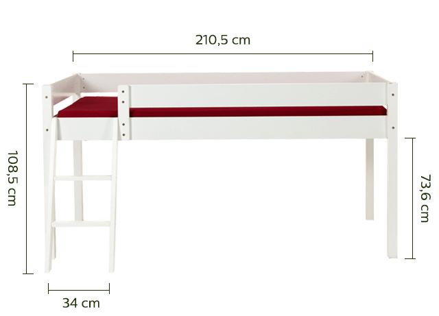 Lit mi-haut 1 place en sapin Blanc 90x200 cm épaisseur max 19cm-SNOW