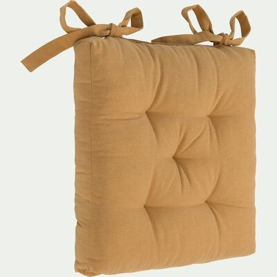 Galette de chaise en coton beige nèfle 40x40cm-CALANQUES