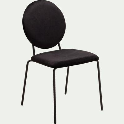 Chaise en velours sans accoudoirs noir-DIVA