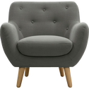 Fauteuil esprit scandinave gris clair-Poppy