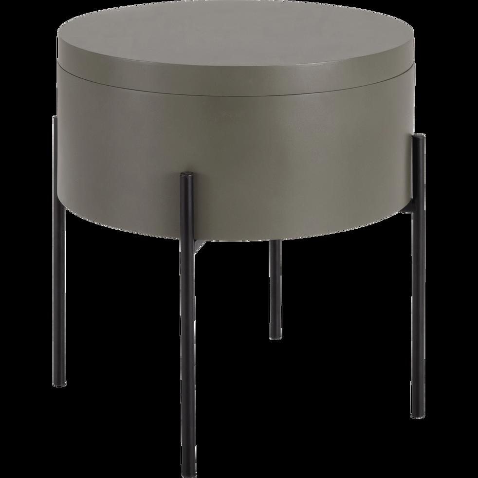 bout de canap vert c dre avec coffre de rangement. Black Bedroom Furniture Sets. Home Design Ideas