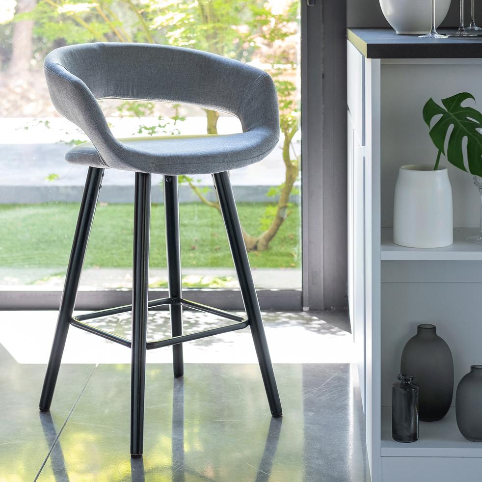 chaise de bar en tissu avec accoudoirs gris borie  h65
