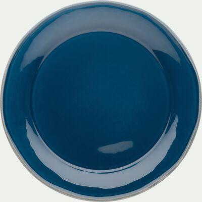 Assiette à dessert en faïence bleu figuerolles D22cm-LUBERON