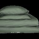 Lot de 2 taies d'oreiller en percale de coton Vert cèdre 65x65cm-FLORE