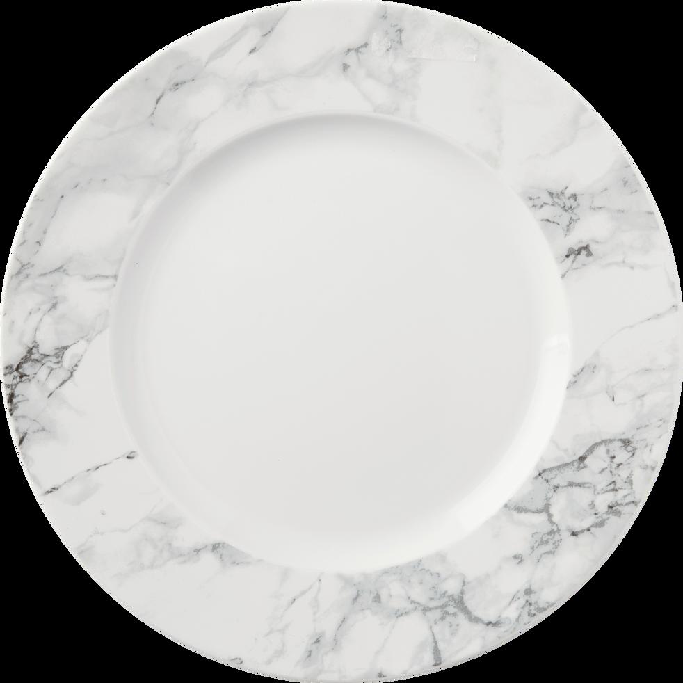 Assiette plate en porcelaine blanche décor marbre D28cm-MARBRE