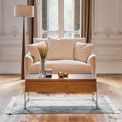 Canapé 2 places convertible en tissu - beige roucas-LENITA