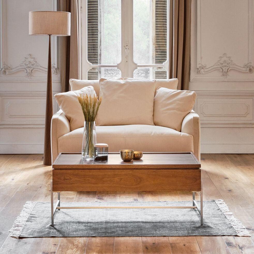Canapé 2 places convertible en tissu beige roucas-LENITA