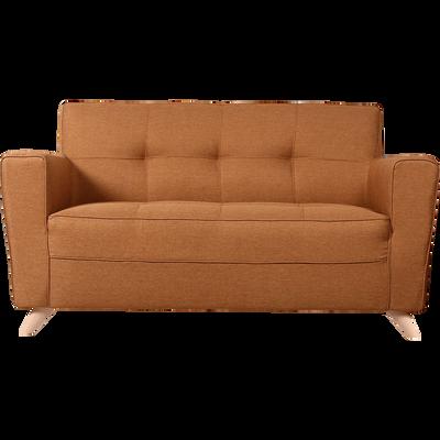 Canapé 2 places fixe en tissu jaune d'or-VICKY
