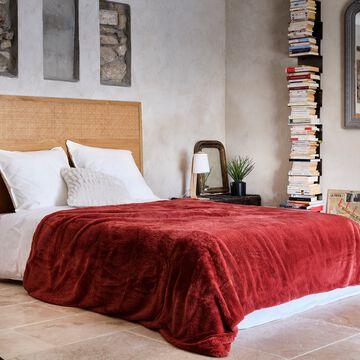 Couvre lit imitation fourrure- rouge ricin 180x220cm-MARIUS