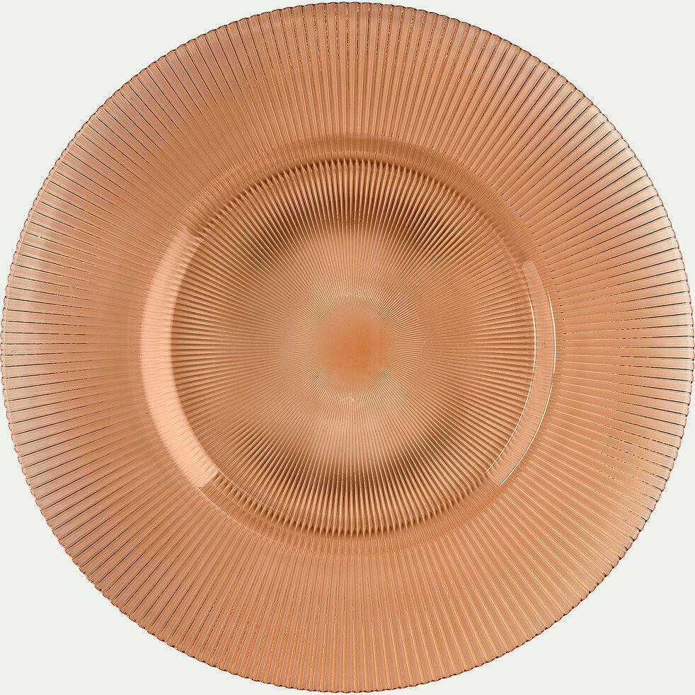 Assiette de présentation en verre strié orange D35cm-SPLENDIDE