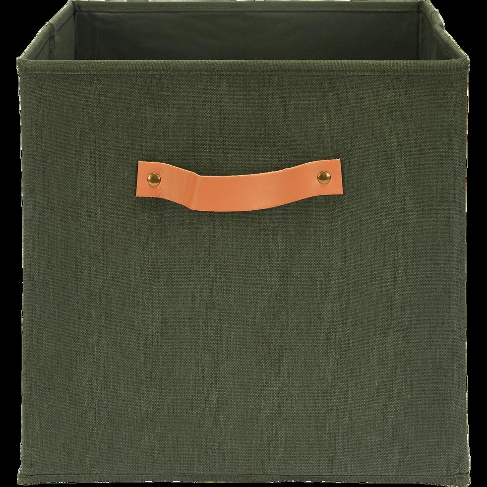 Panier de rangement 31x31 cm en lin Vert cedre-ERRO
