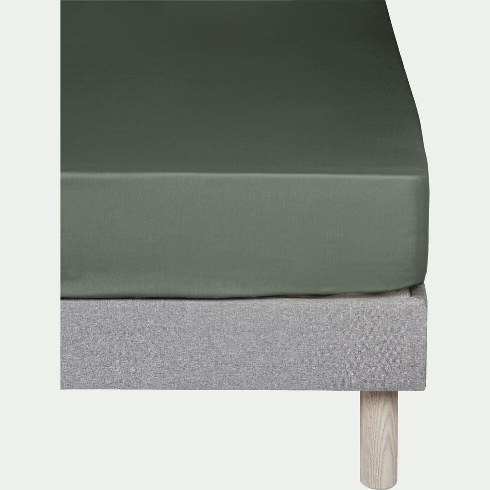 Drap housse en coton - vert cèdre 140x200cm B25cm-CALANQUES