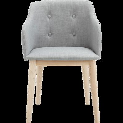 Chaise capitonnée en tissu gris clair avec accoudoirs-CORK