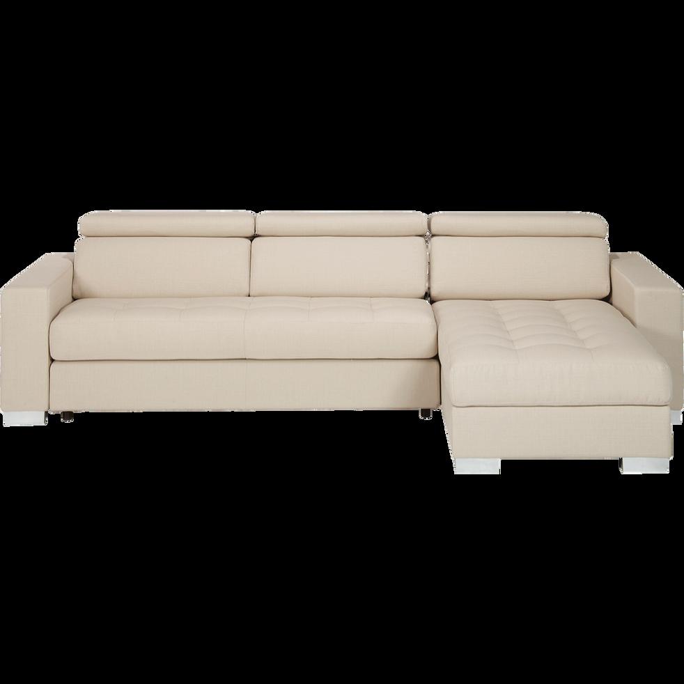 canap d 39 angle r versible en tissu beige mauro canap s. Black Bedroom Furniture Sets. Home Design Ideas