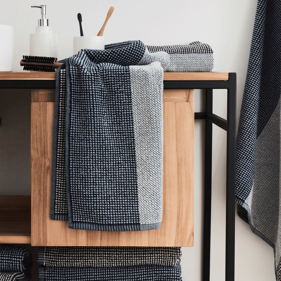 Linge de toilette bouclette jacquard en coton - bleu-HUGO