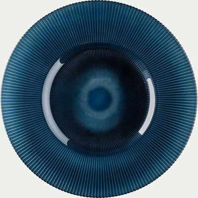 Assiette de présentation en verre strié bleu D35cm-SPLENDIDE