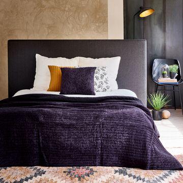 Couvre-lit en coton et lin motif Fleur d'oranger - bleu calabrun 180x230cm-ORANGER