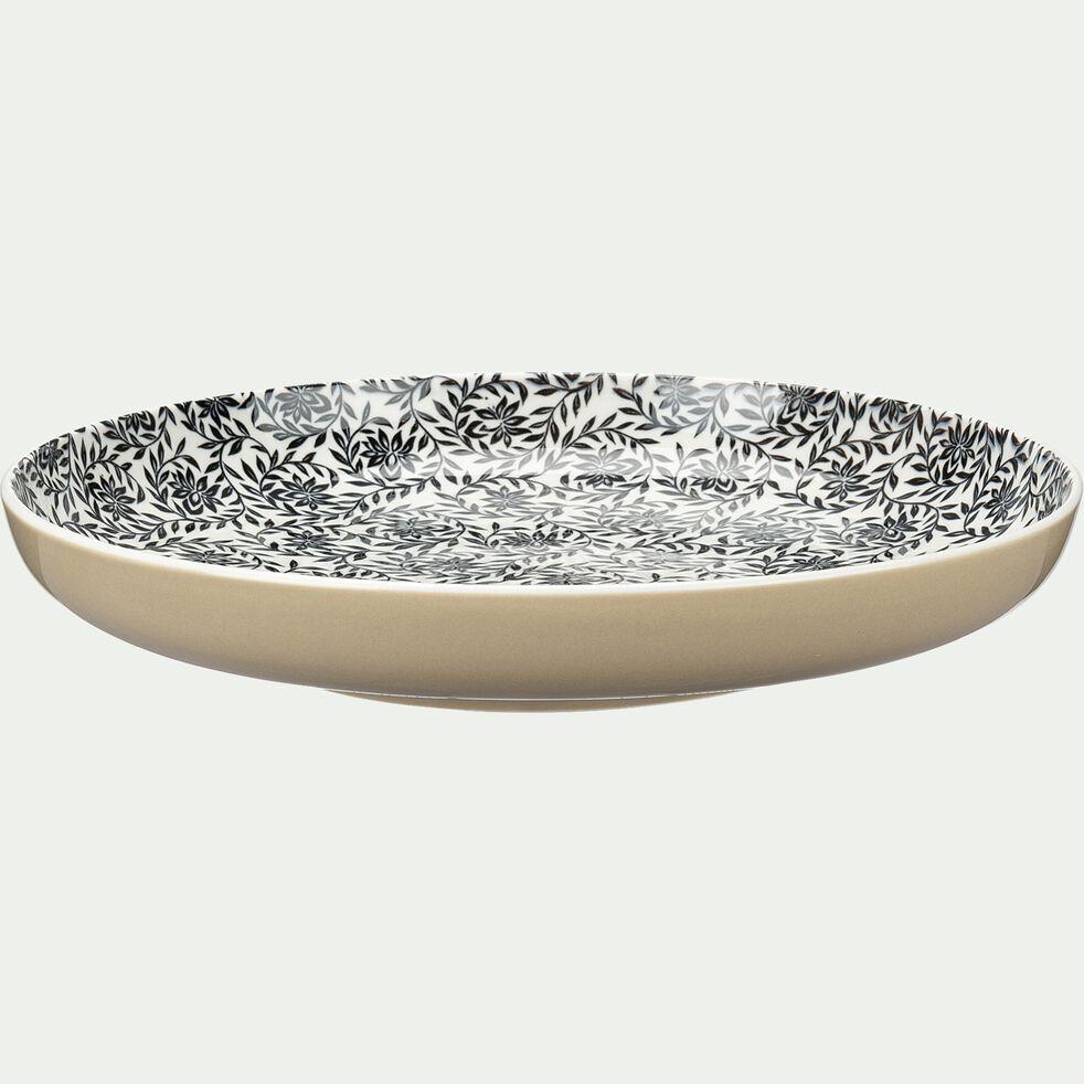 Assiette plate en porcelaine à motifs jasmin - beige nèfle D26,8cm-AIX