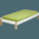 Lit 1 place blanc en pin massif avec sommier - 90x200 cm épaisseur max 15cm-TIPI