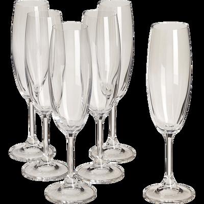 Lot de 6 flûtes à champagne en cristallin-TANA