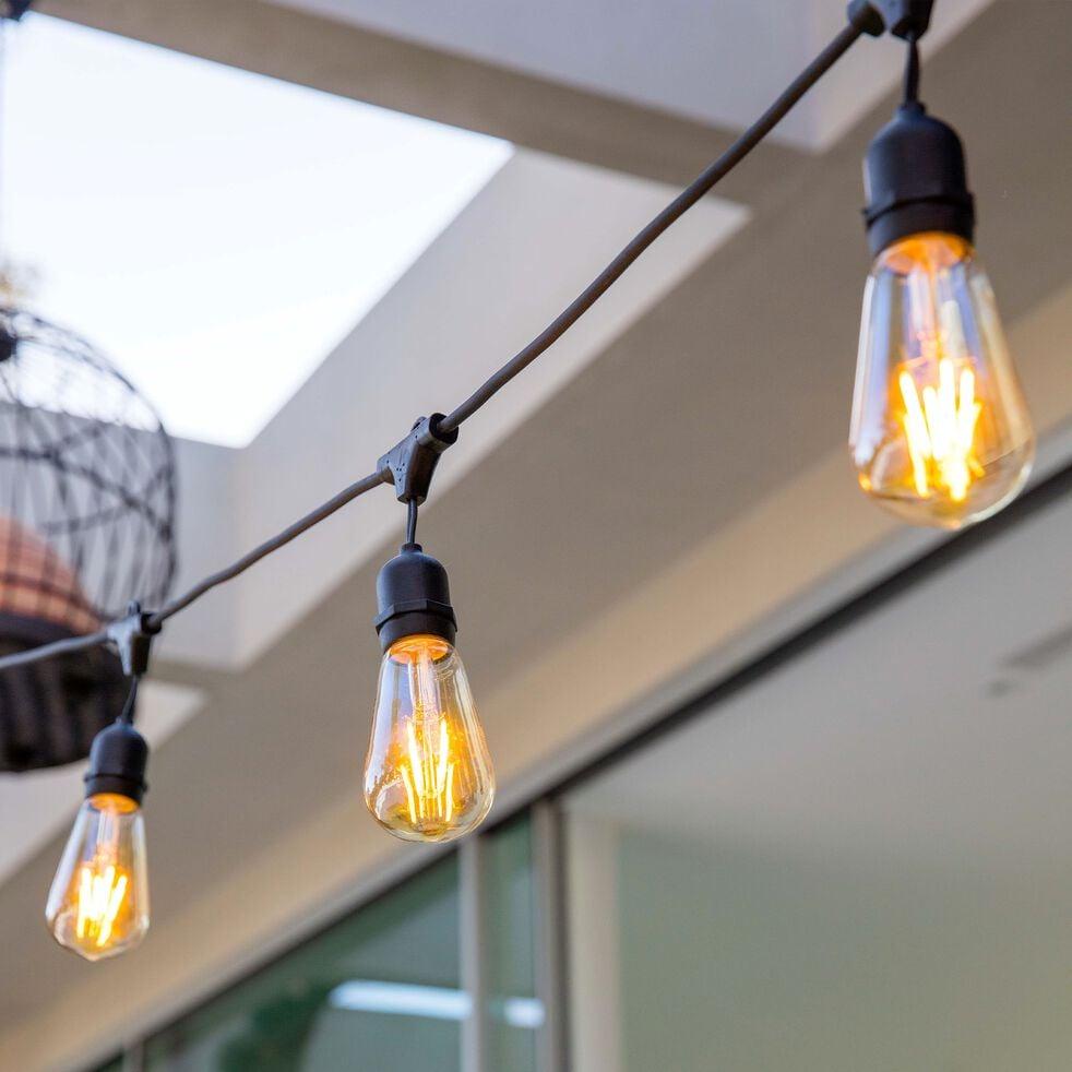 Guirlande électrique extensible avec 10 ampoules - 6m noir-MAFY 10