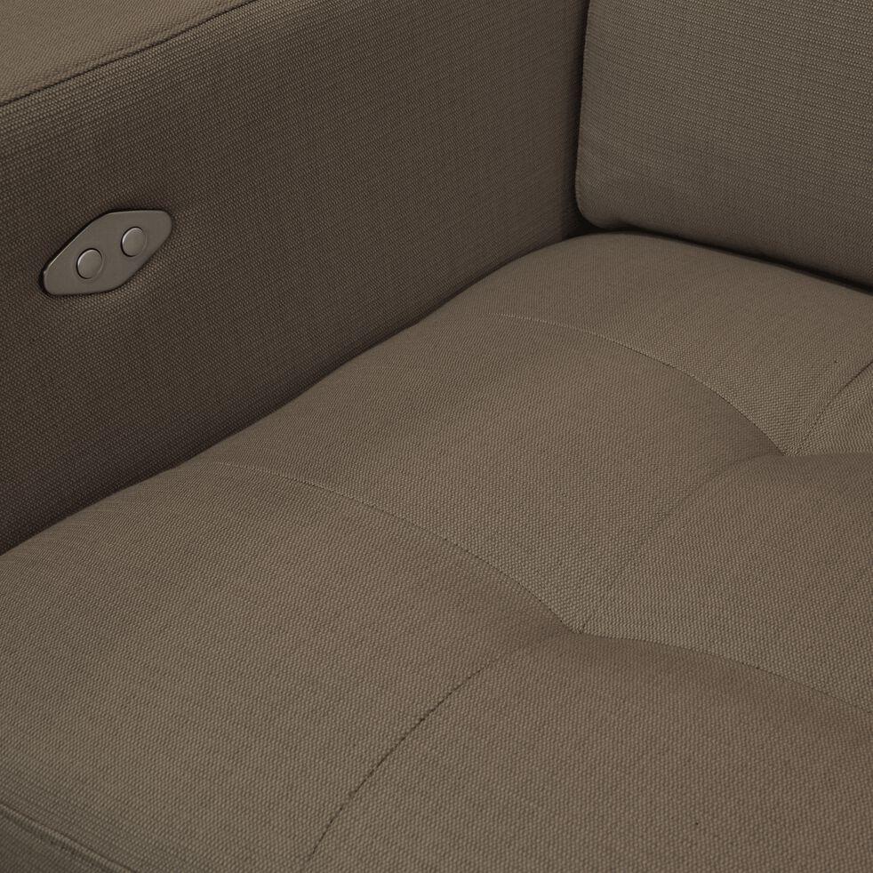 Canapé de relaxation 2 places en tissu accoudoirs 20cm - taupe-MAURO