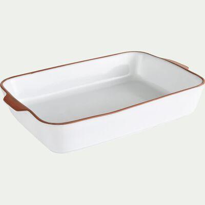 Plat à four blanc en grès 41x25cm-DARKSTONE
