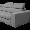 Canapé d'angle gauche panoramique convertible en tissu gris clair-TONIN