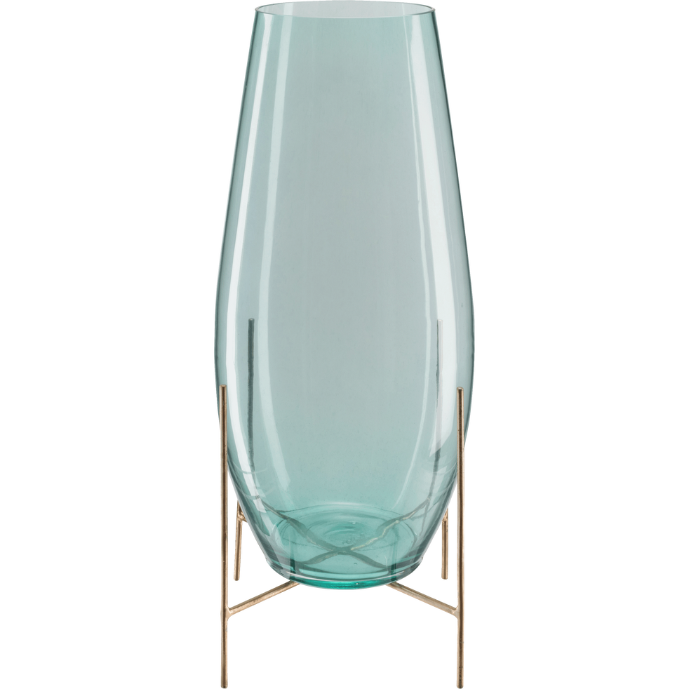 vase en verre bleu transparent sur pied en m tal h50 cm paolina h50 cm vases alinea. Black Bedroom Furniture Sets. Home Design Ideas