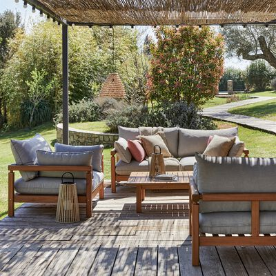 Salon de jardin en eucalyptus (3 places) - naturel
