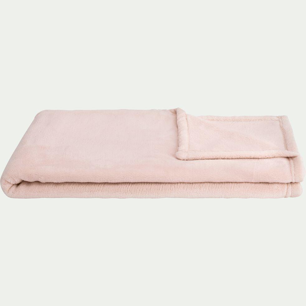 Plaid polaire - rose grège 100x100cm-AMELIE
