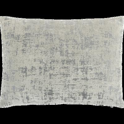 Coussin en velours dévoré gris 40x55cm-CHI