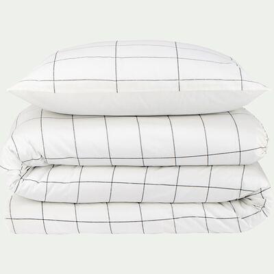 Housse de couette et 2 taies d'oreiller en coton motif carreaux - blanc 240x220cm-CARRELA
