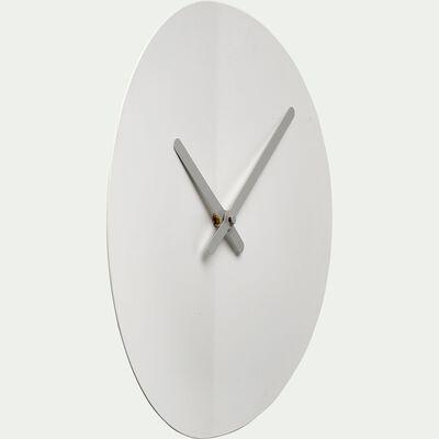 Horloge silencieuse en fer - blanc D35cm-ANOR