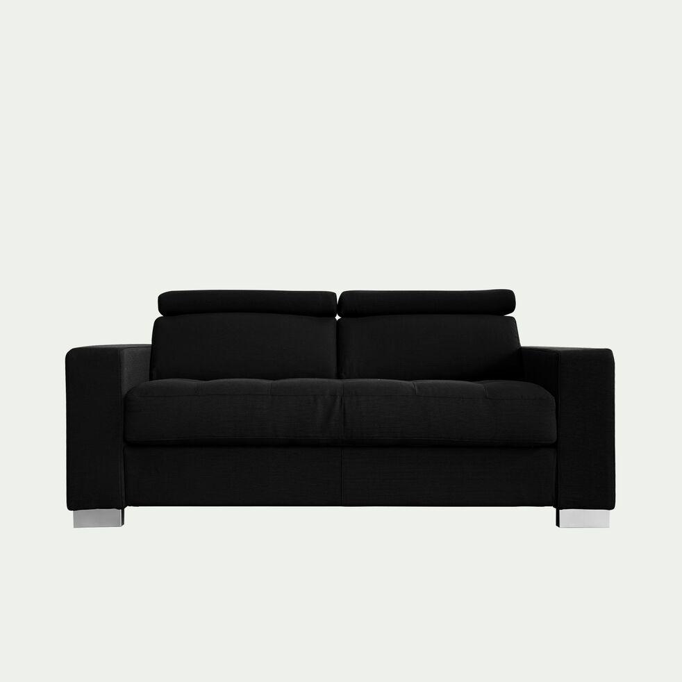 Canapé 2 places fixe en tissu avec accoudoir 20cm - gris anthracite-MAURO