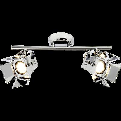 Spot en métal chromé L37cm à 2 lumières-MOVIE