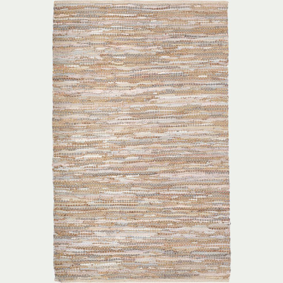 Tapis tressé en cuir et coton - marron 100x150cm-MARIELLE