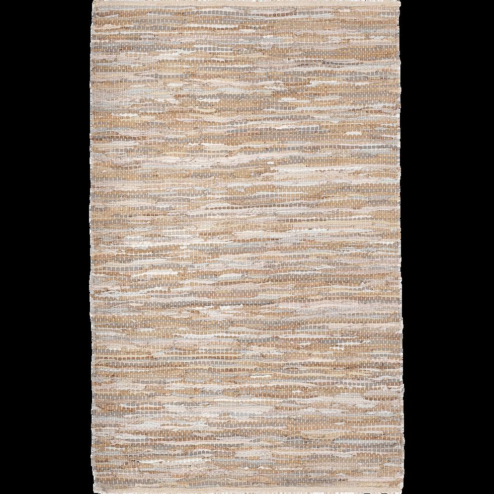 Tapis tressé en cuir marron 100x150 cm-MARIELLE