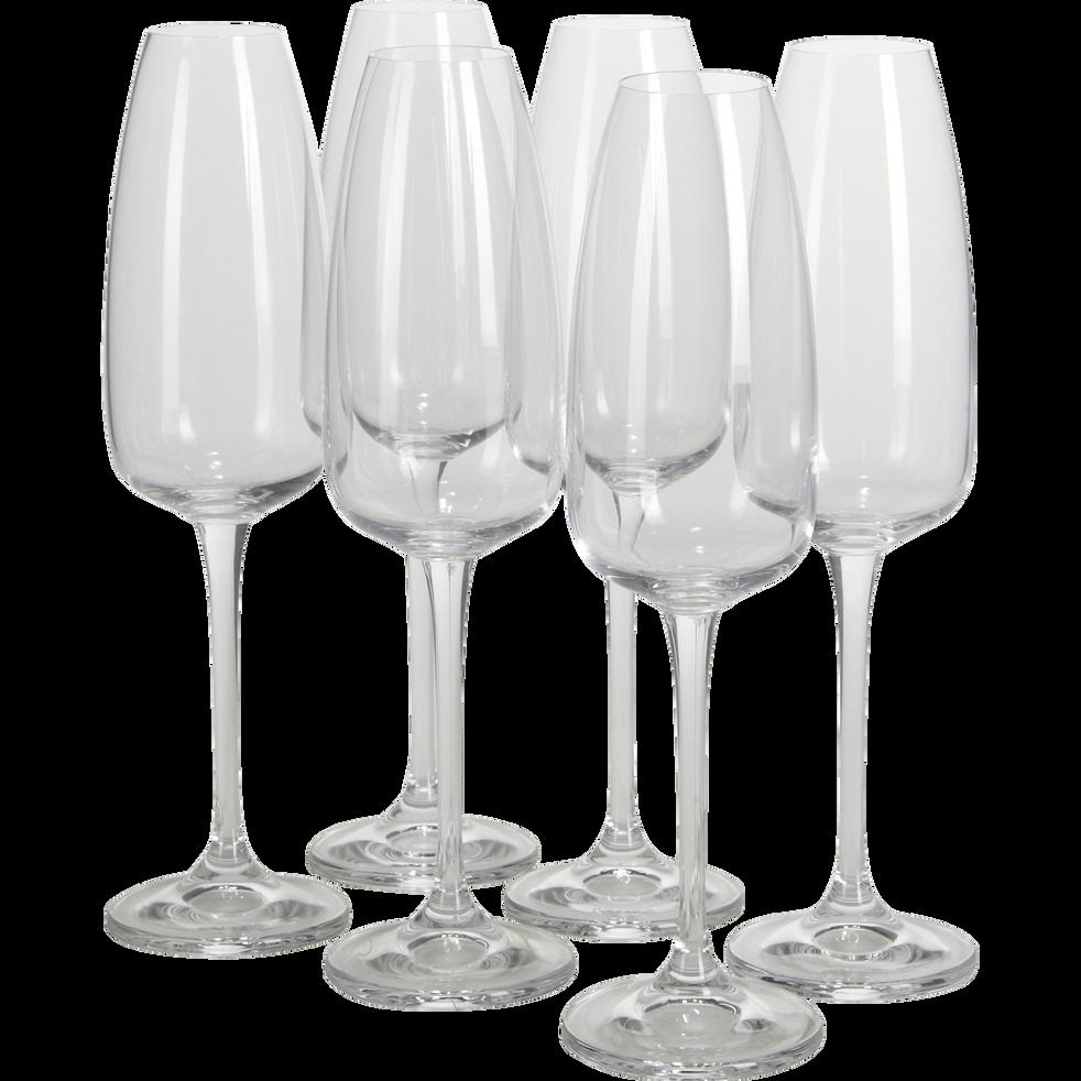 Lot de 6 flûtes à champagne en cristallin 29cl-ANDELLE