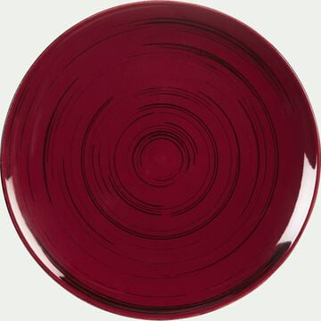 Assiette à dessert en faïence rouge effet patiné D20.5cm-GASTON