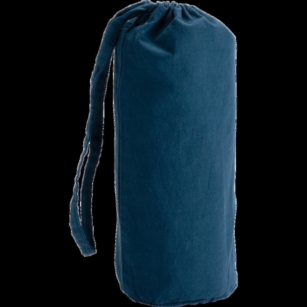 Drap housse en coton lavé bleu figuerolles 90x200 cm-CALANQUES