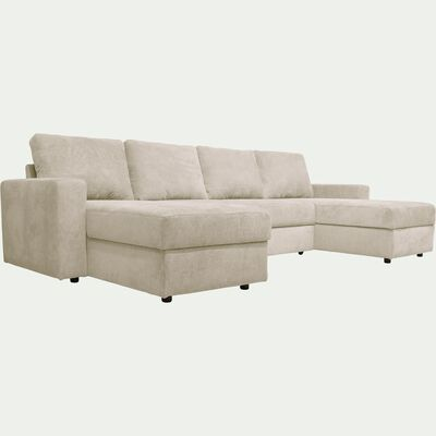 Canapé en U convertible en tissu - beige roucas-HONORE