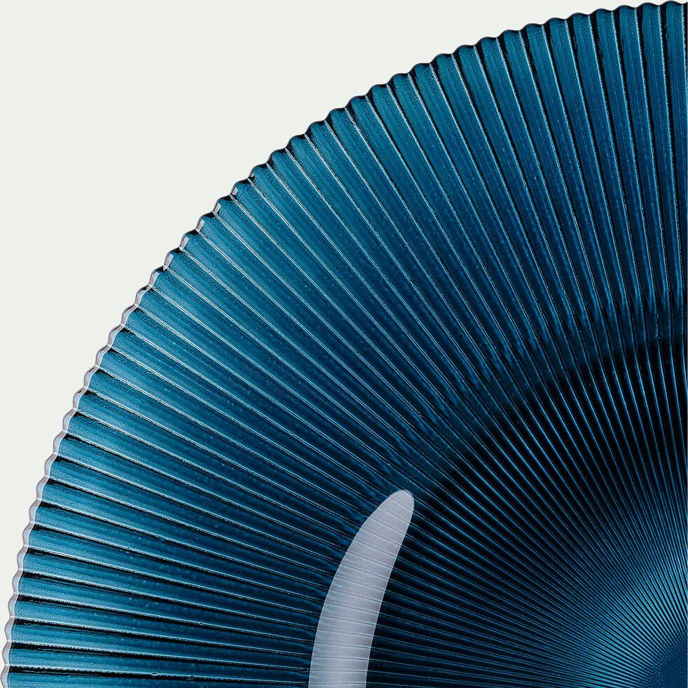 Assiette plate en verre strié bleu D28cm-SPLENDIDE