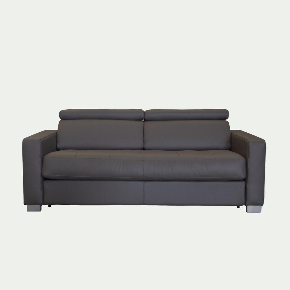 Canapé 3 places convertible en cuir avec accoudoir 15cm - taupe foncé-MAURO