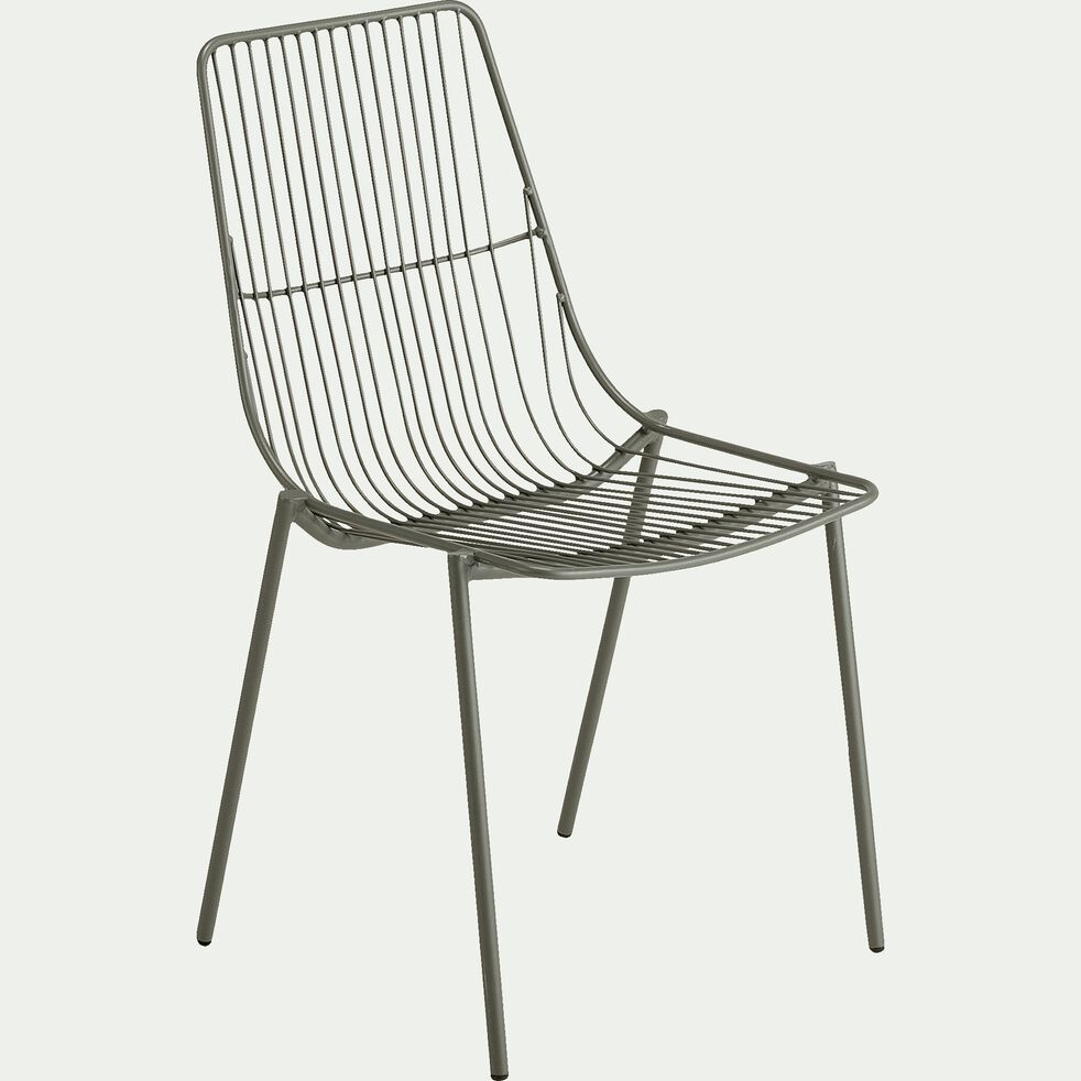 Chaise de jardin en acier - vert cèdre-MALDI