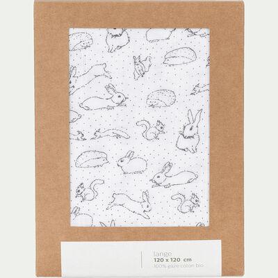 Lange bébé en coton bio 120x120cm à motif bestiaire - blanc-Bestiaire