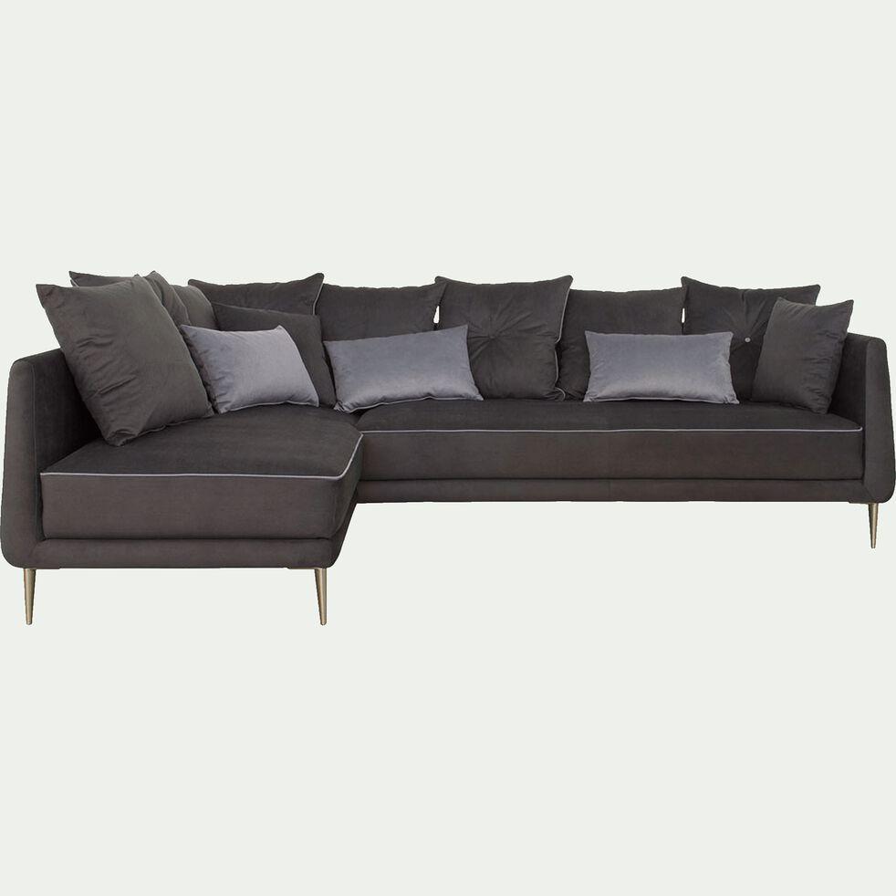 Canapé d'angle fixe gauche en tissu - noir calabrun-ASTELLO